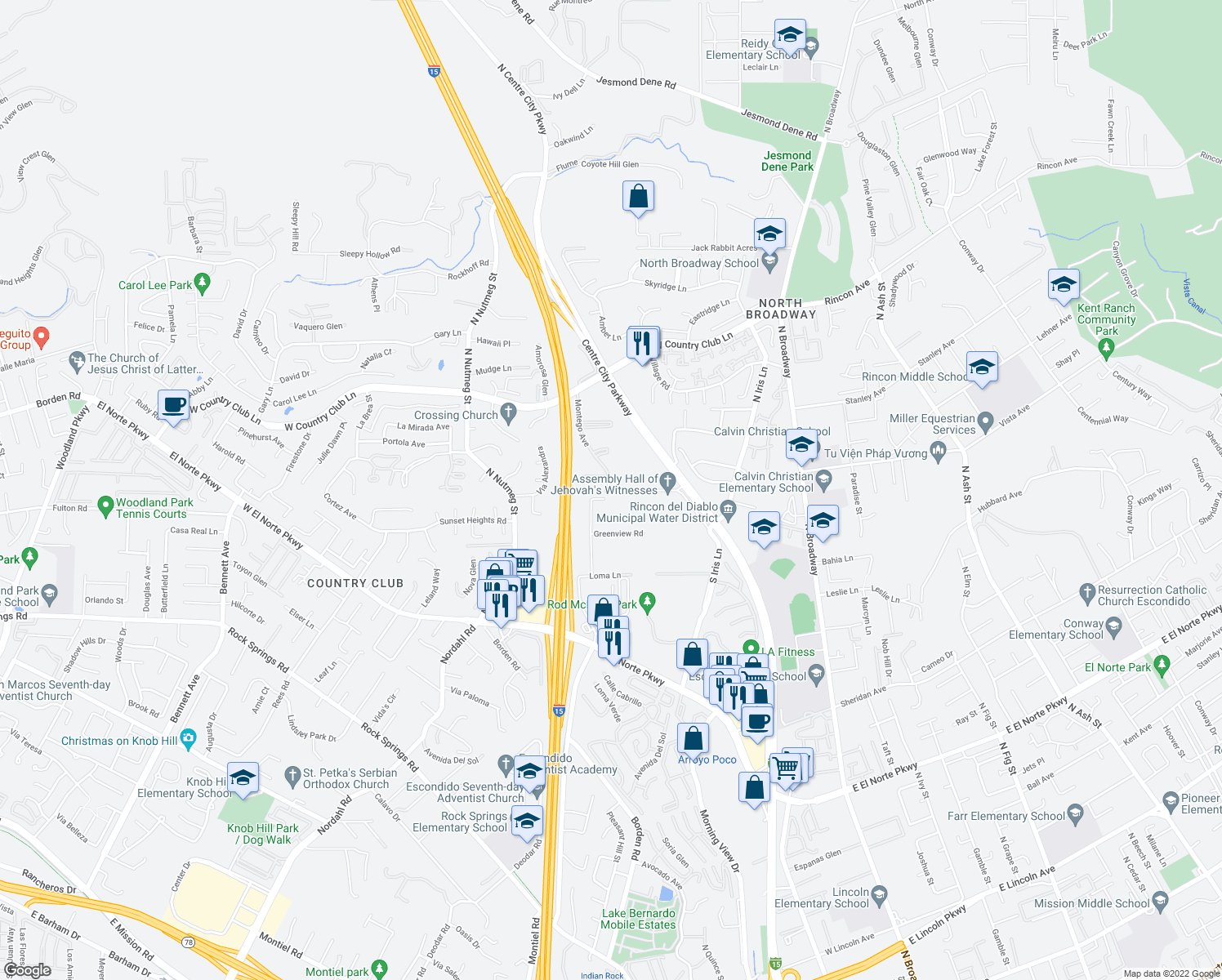 map of restaurants, bars, coffee shops, grocery stores, and more near 401-799 Imperial Drive in Escondido