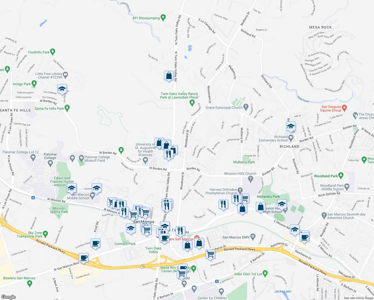 map of restaurants, bars, coffee shops, grocery stores, and more near 10685 Woodward Street in San Marcos