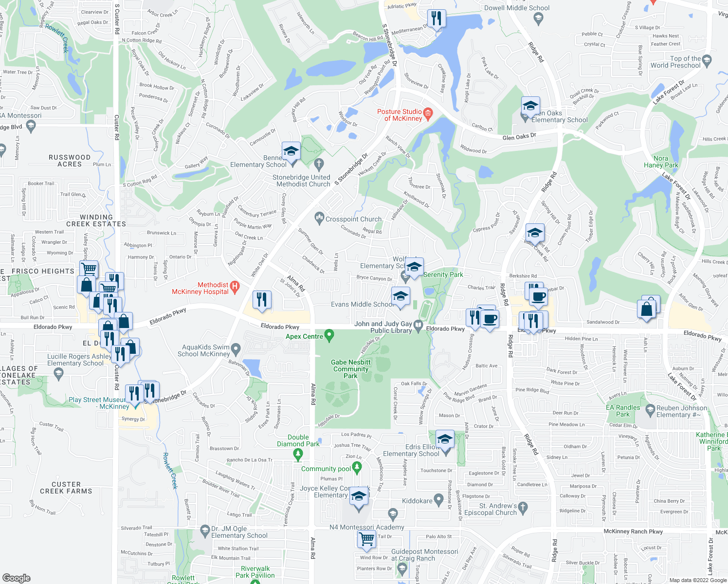map of restaurants, bars, coffee shops, grocery stores, and more near 2605 Black Canyon Drive in McKinney