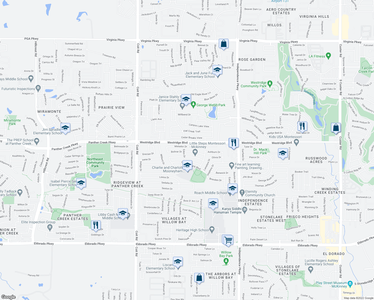 map of restaurants, bars, coffee shops, grocery stores, and more near 10421 Bolivar Drive in McKinney