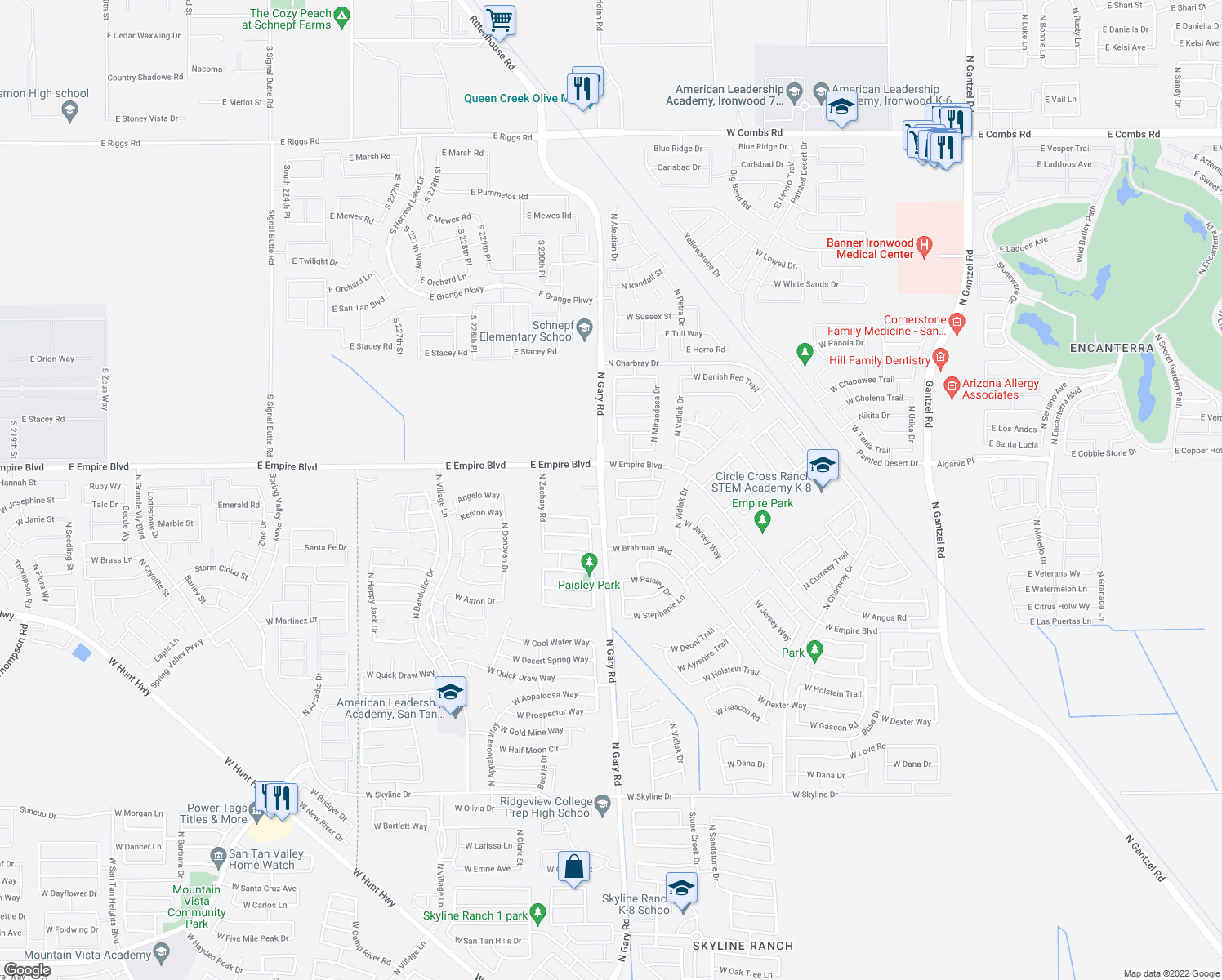 map of restaurants, bars, coffee shops, grocery stores, and more near 35804 N Murray Grey Dr in San Tan Valley