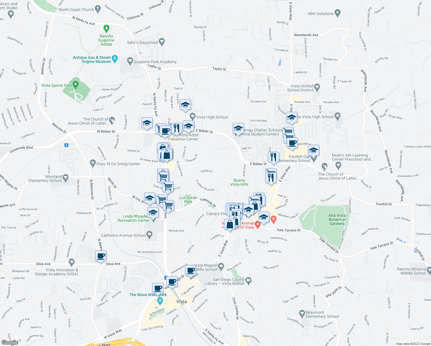 map of restaurants, bars, coffee shops, grocery stores, and more near 349 Apollo Drive in Vista