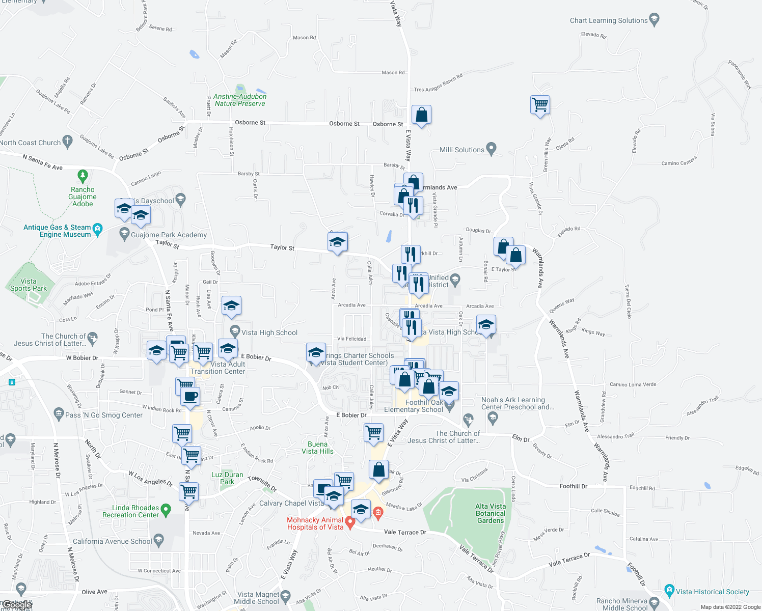 map of restaurants, bars, coffee shops, grocery stores, and more near 1080 Arcadia Avenue in Vista