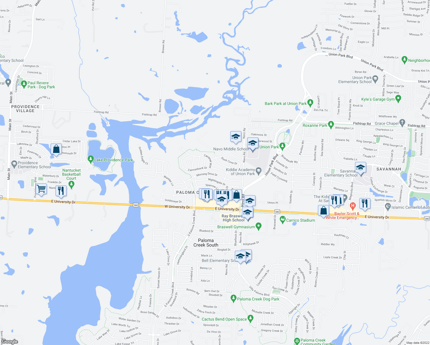 map of restaurants, bars, coffee shops, grocery stores, and more near 1604 Morning Dove Drive in Aubrey