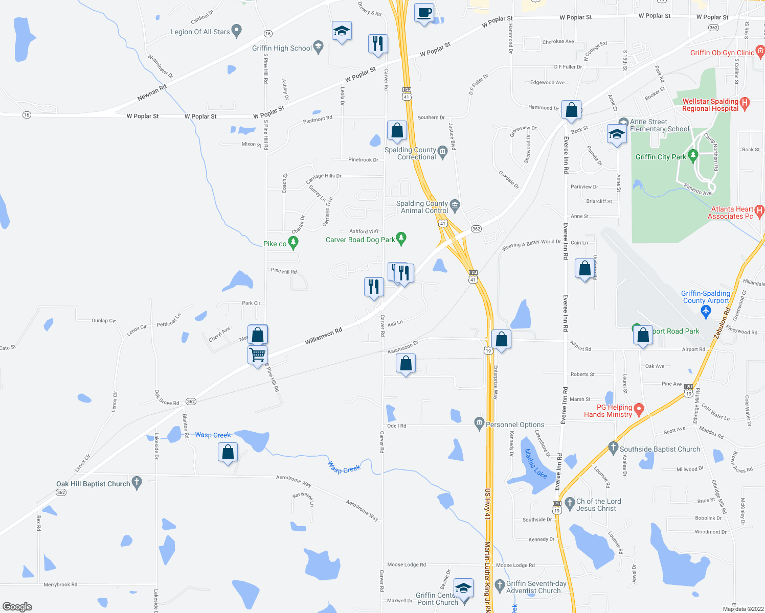 map of restaurants, bars, coffee shops, grocery stores, and more near 1603-1605 Williamson Rd in Griffin