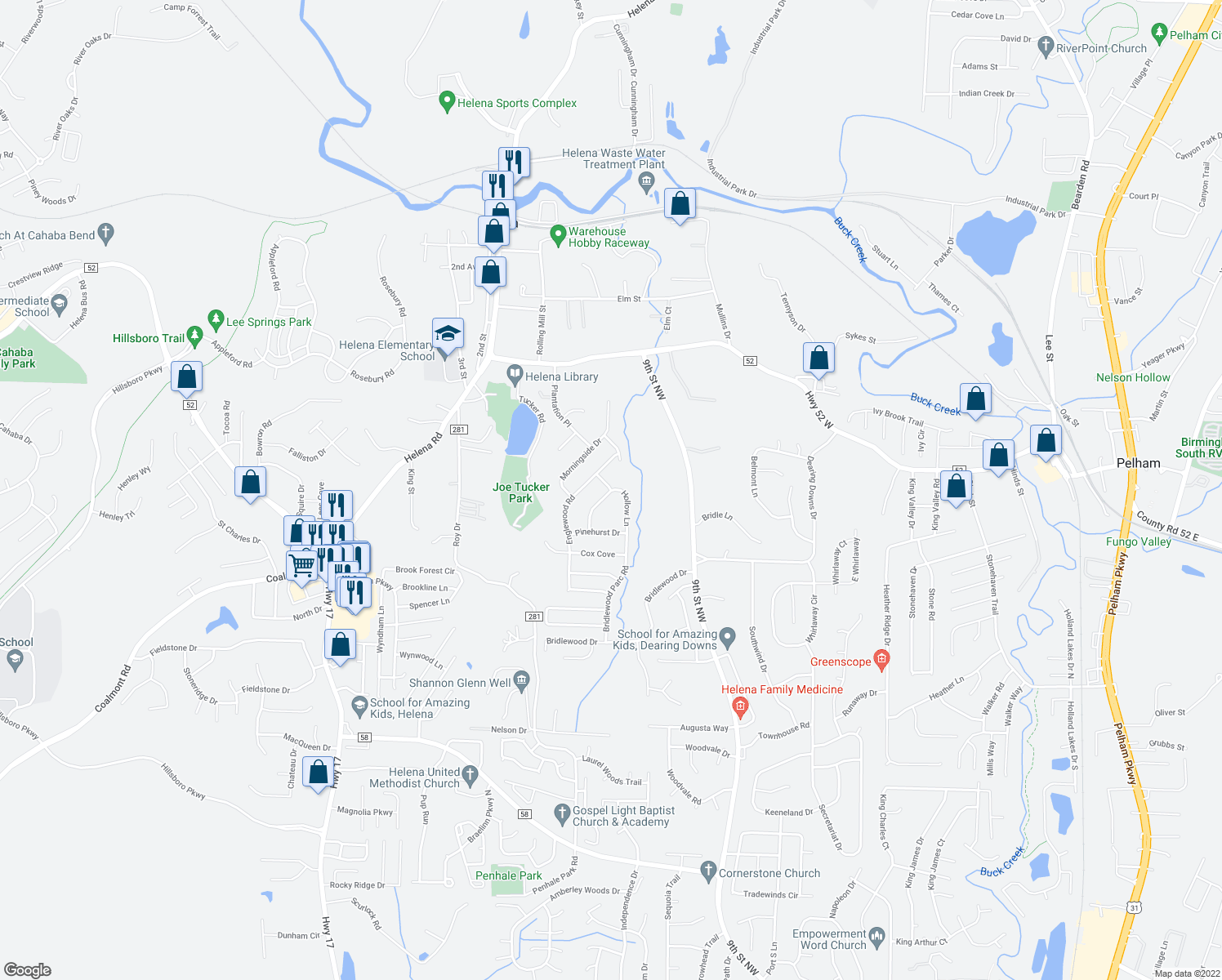 map of restaurants, bars, coffee shops, grocery stores, and more near 4701 Plantation Place South in Helena
