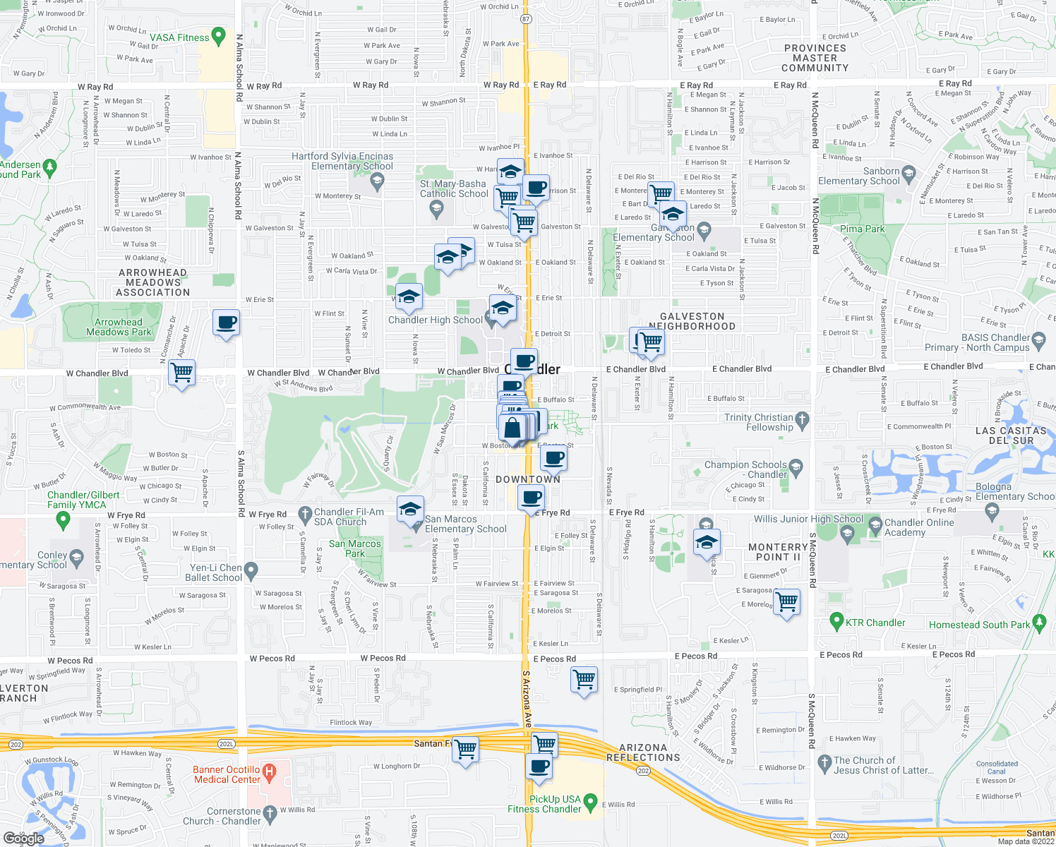 map of restaurants, bars, coffee shops, grocery stores, and more near 3 S Arizona Ave in Chandler