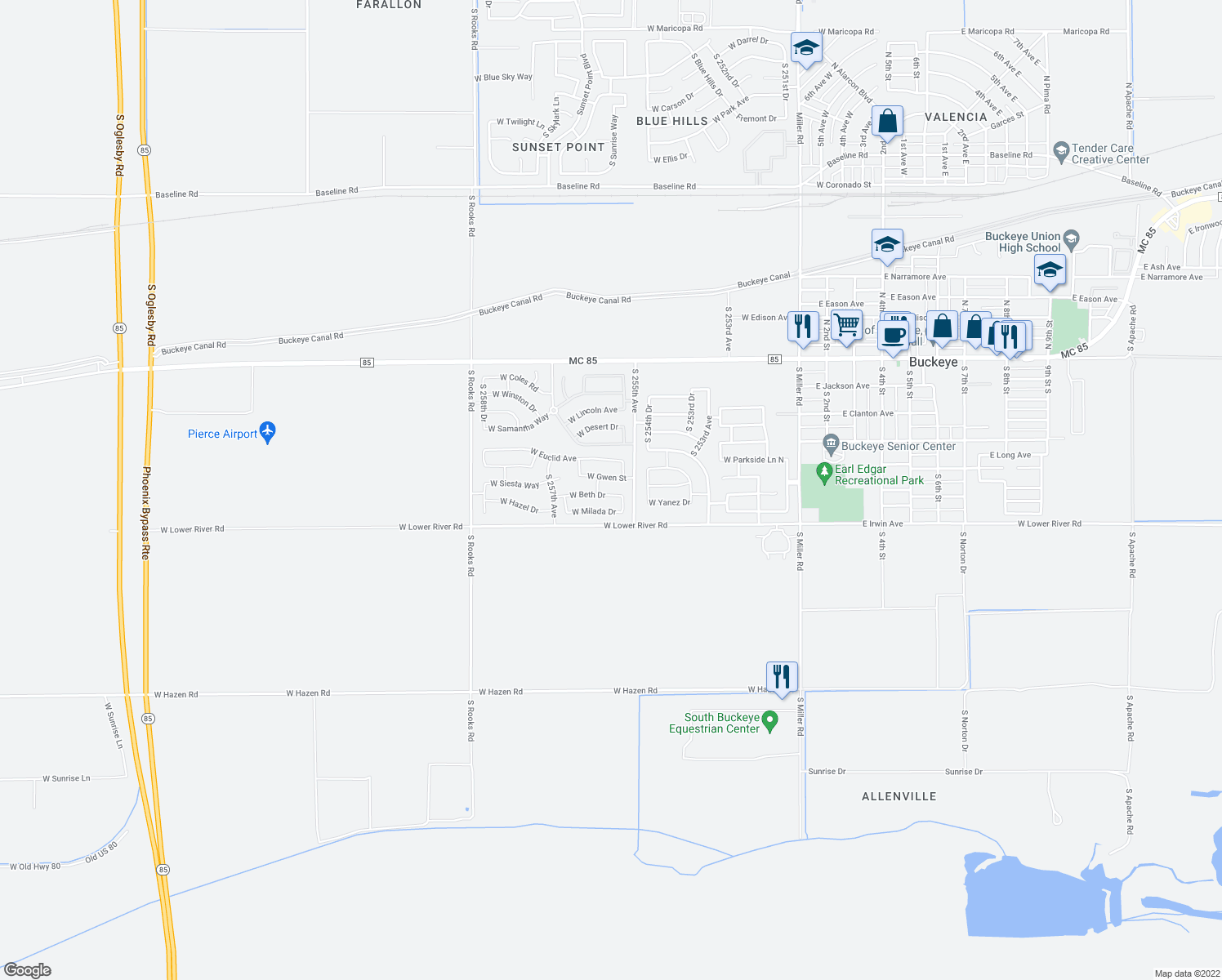 map of restaurants, bars, coffee shops, grocery stores, and more near 25558 W Beth Dr in Buckeye