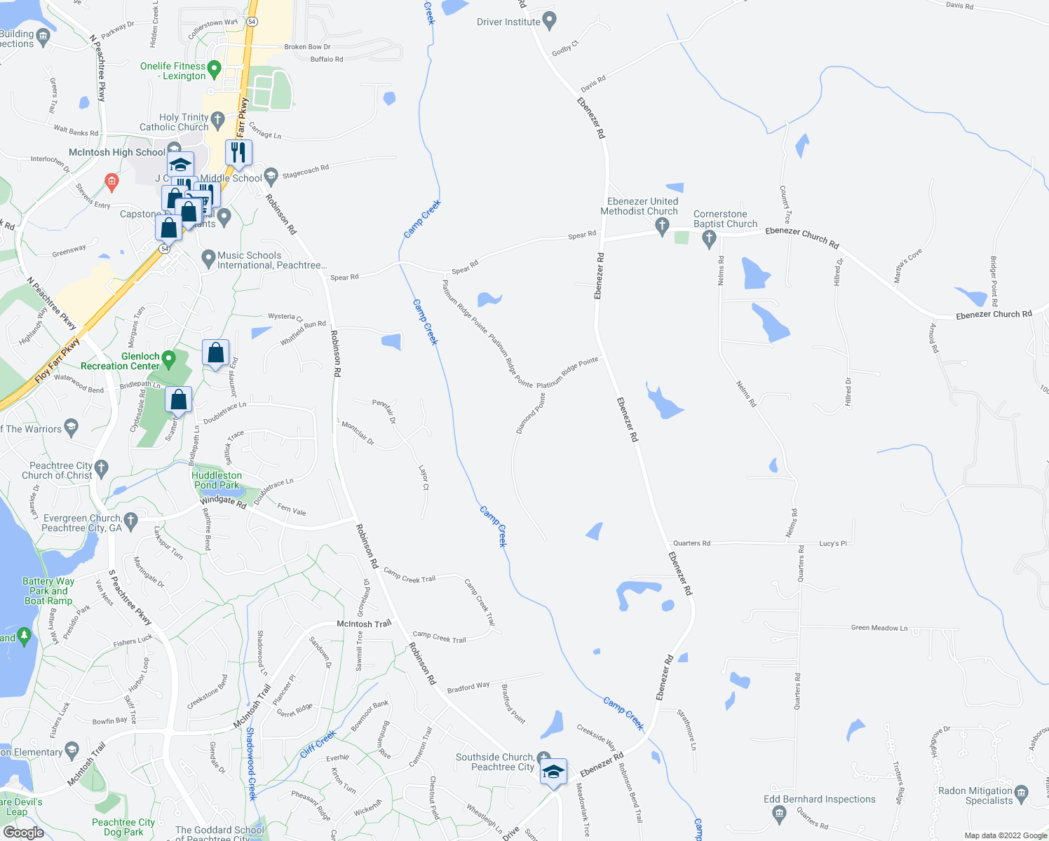 map of restaurants, bars, coffee shops, grocery stores, and more near 101 Diamond Pointe in Fayetteville