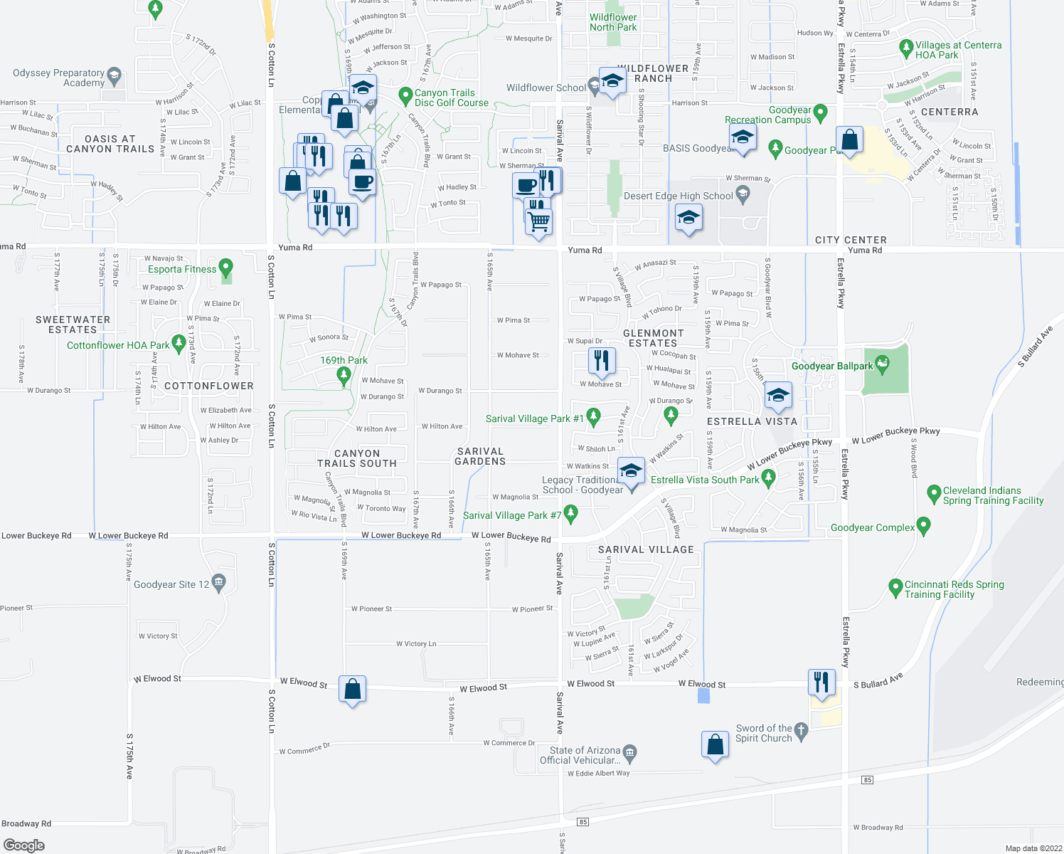 map of restaurants, bars, coffee shops, grocery stores, and more near W Hilton Ave in Goodyear