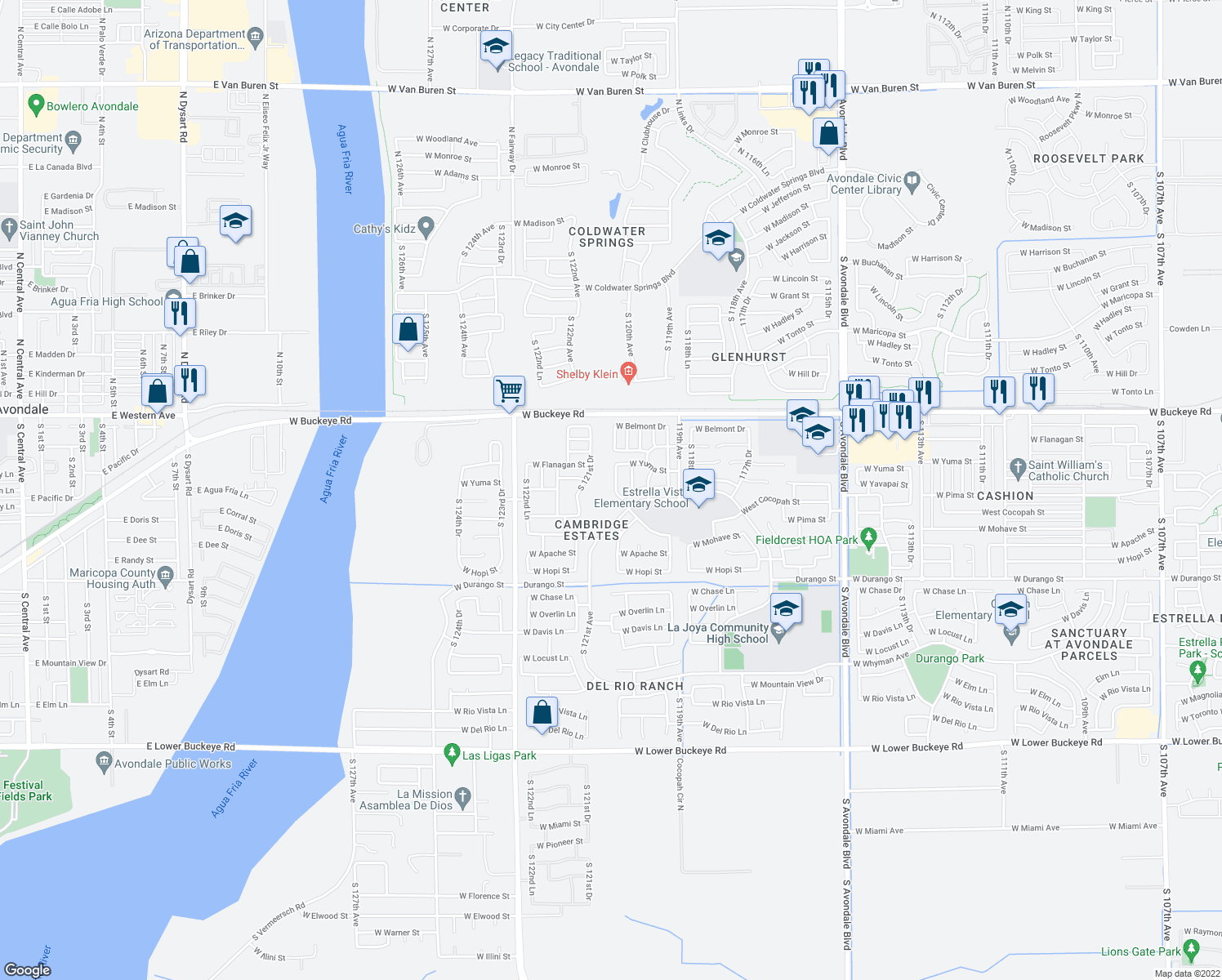 map of restaurants, bars, coffee shops, grocery stores, and more near 1430 S 120th Ln in Avondale