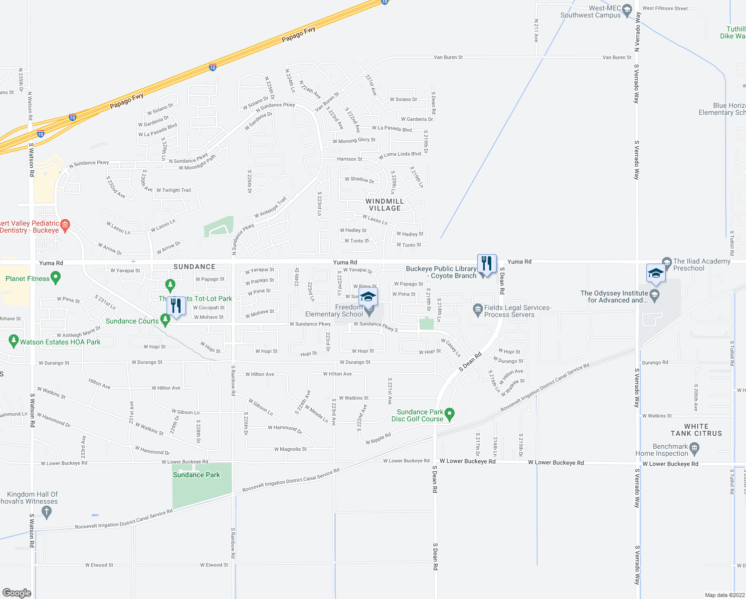map of restaurants, bars, coffee shops, grocery stores, and more near 22166 West Sonora Street in Buckeye