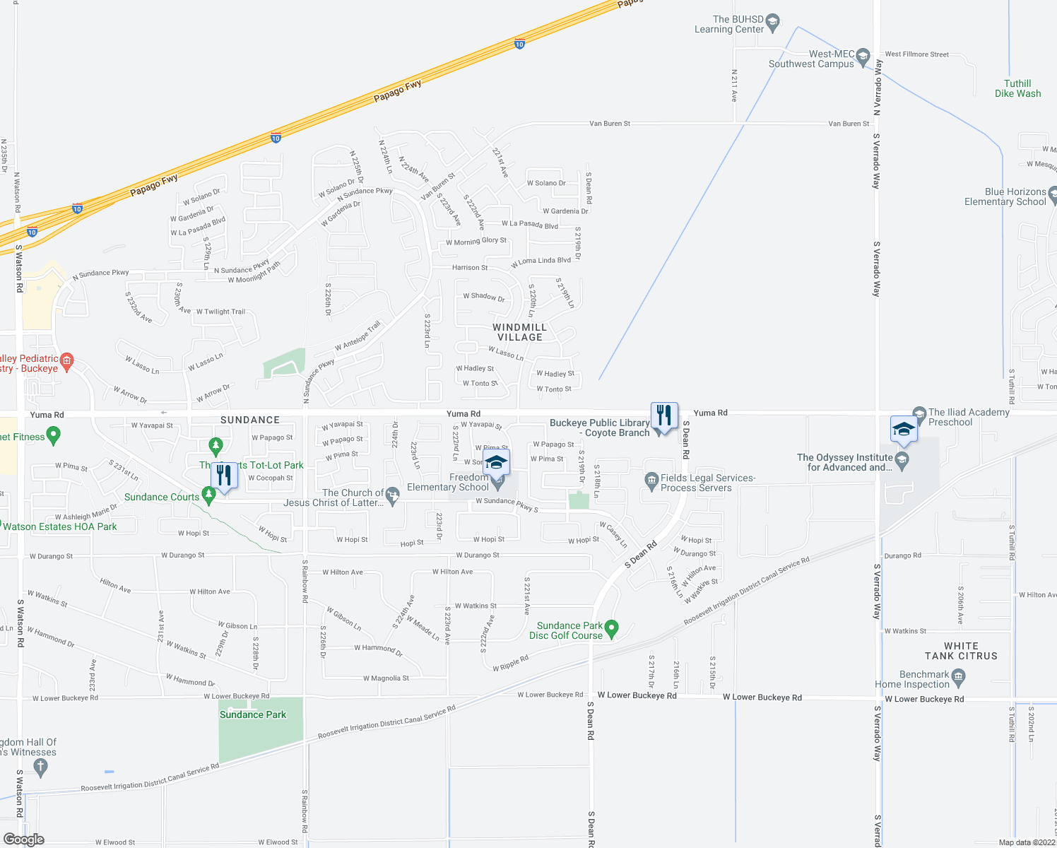 map of restaurants, bars, coffee shops, grocery stores, and more near 22081 W Yavapai St in Buckeye