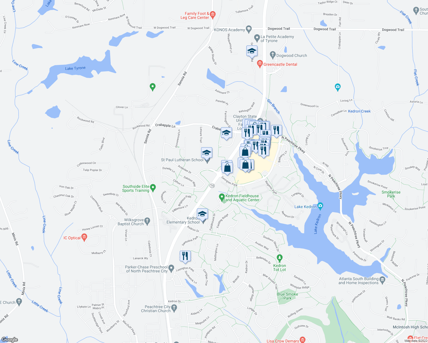 map of restaurants, bars, coffee shops, grocery stores, and more near 701-743 Ardenlee Parkway in Peachtree City