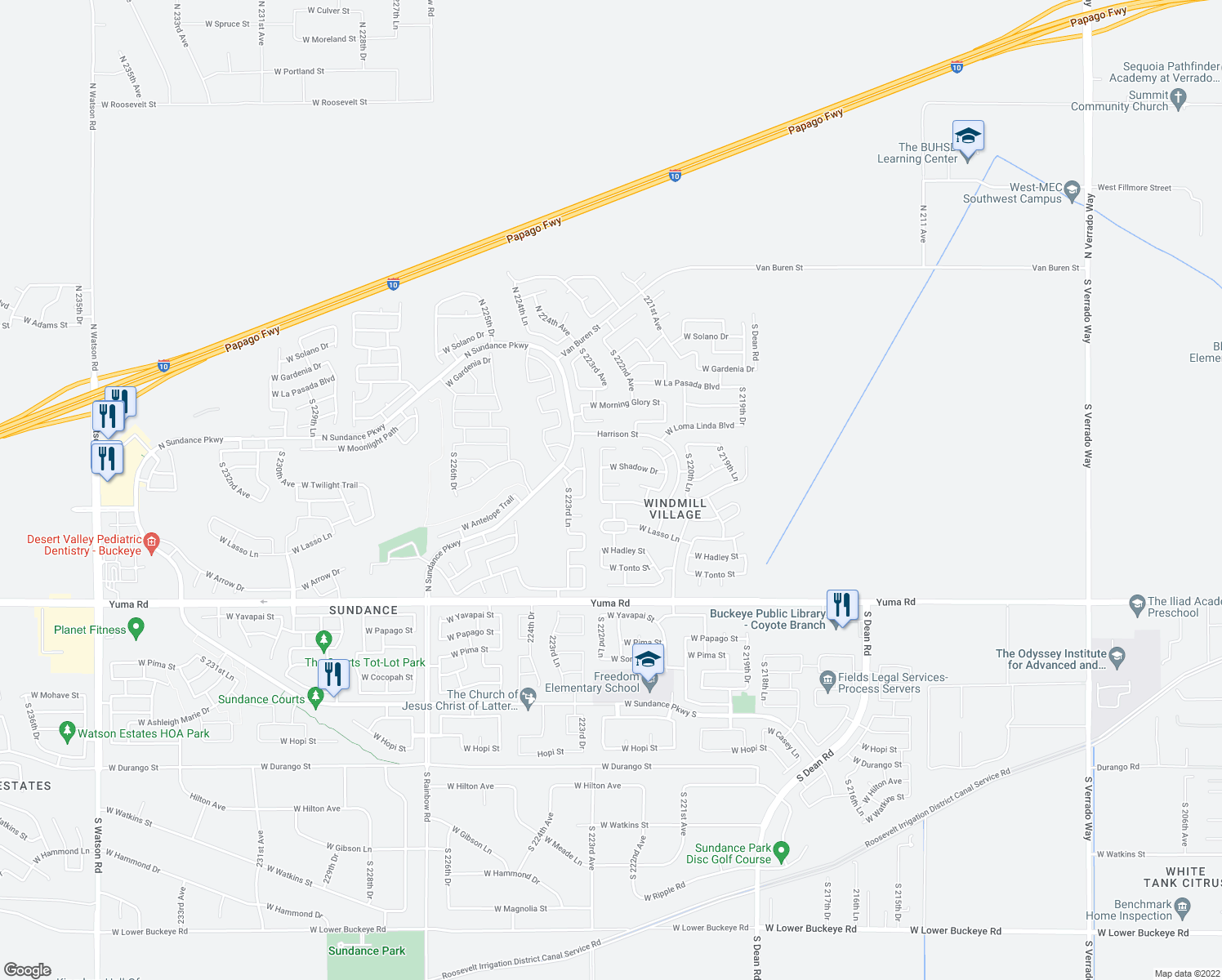 map of restaurants, bars, coffee shops, grocery stores, and more near 648 South 222nd Lane in Buckeye
