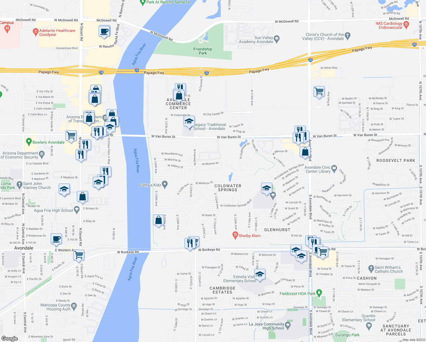 map of restaurants, bars, coffee shops, grocery stores, and more near 12229 West Washington Street in Avondale