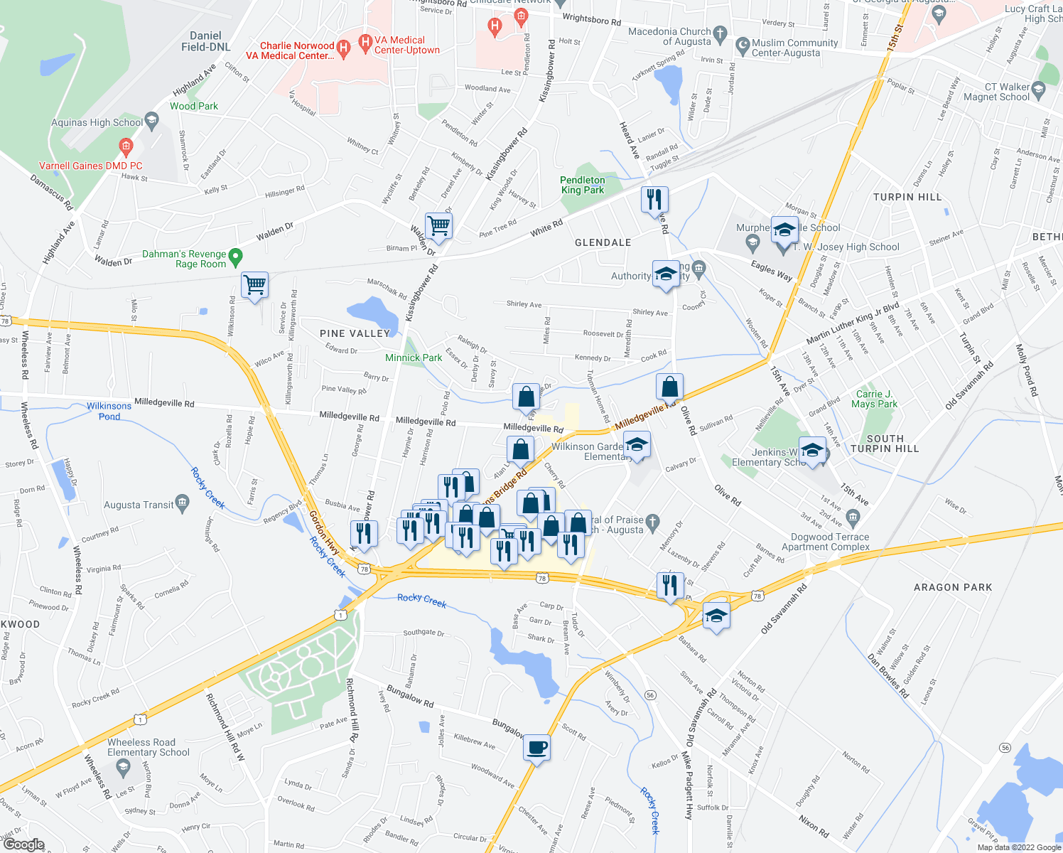map of restaurants, bars, coffee shops, grocery stores, and more near 1960-1998 Sanford Court in Augusta