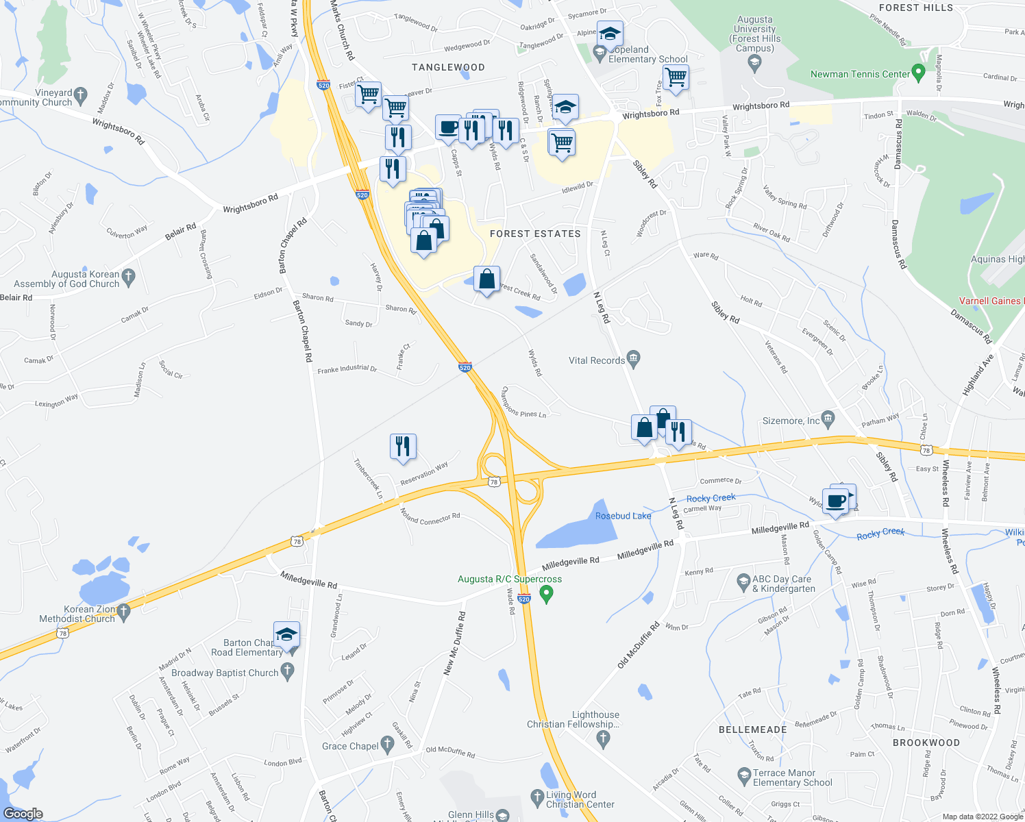 map of restaurants, bars, coffee shops, grocery stores, and more near 320 Champions Pines Lane in Augusta
