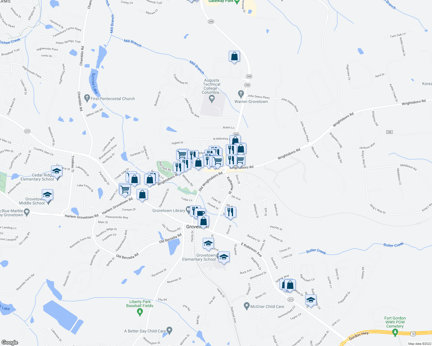 map of restaurants, bars, coffee shops, grocery stores, and more near 5126 Wrightsboro Road in Grovetown