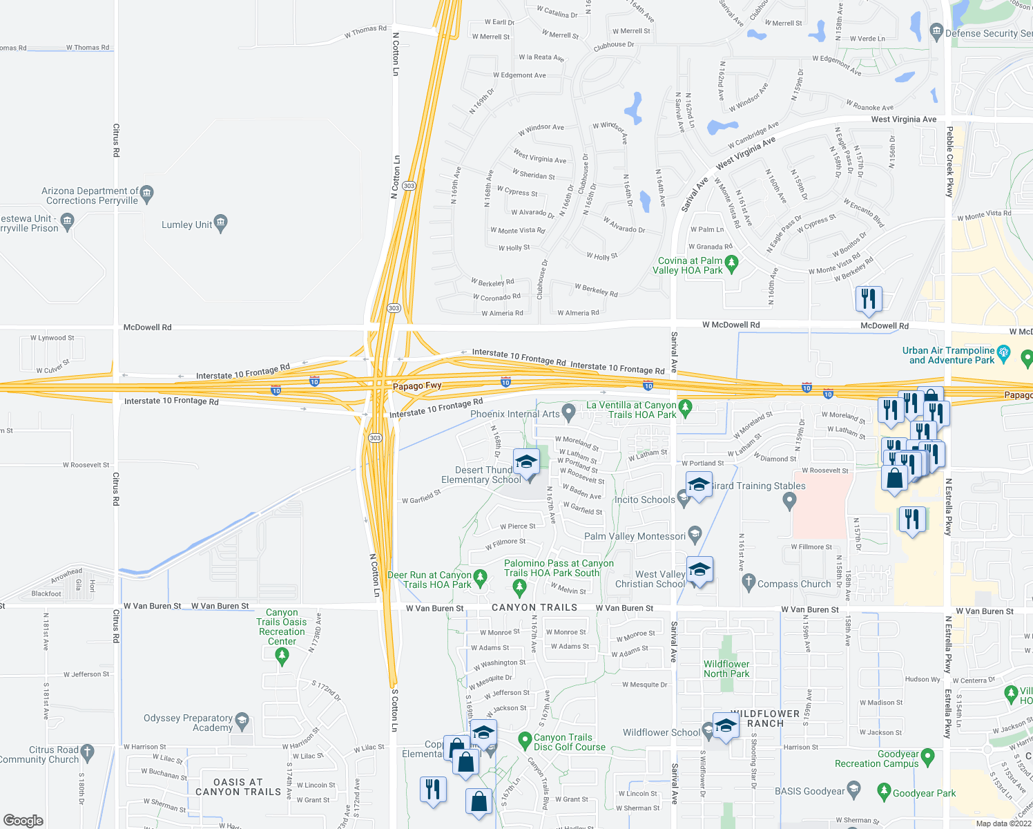 map of restaurants, bars, coffee shops, grocery stores, and more near 16549 W Bellview St in Goodyear