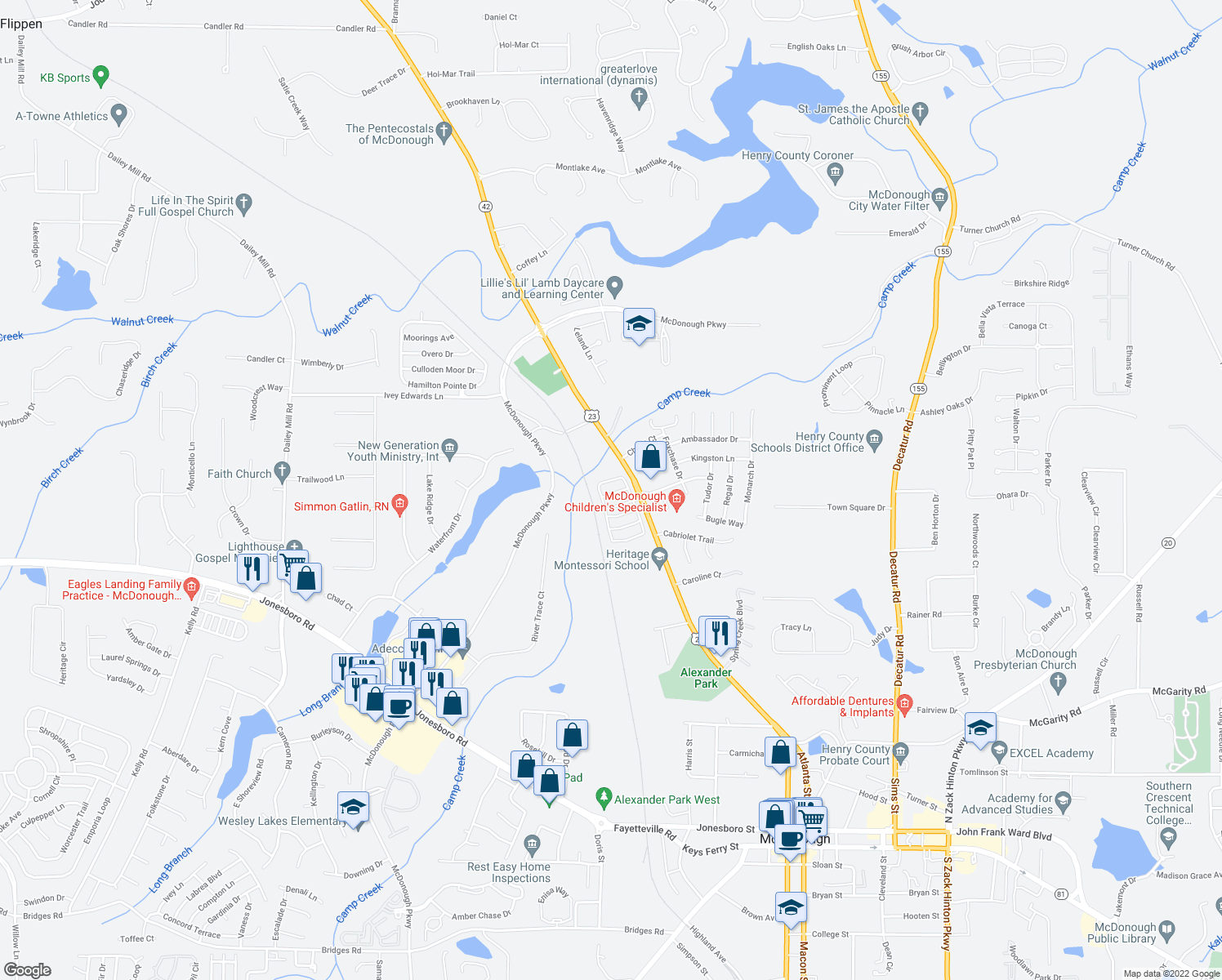 map of restaurants, bars, coffee shops, grocery stores, and more near Huntington Drive in McDonough