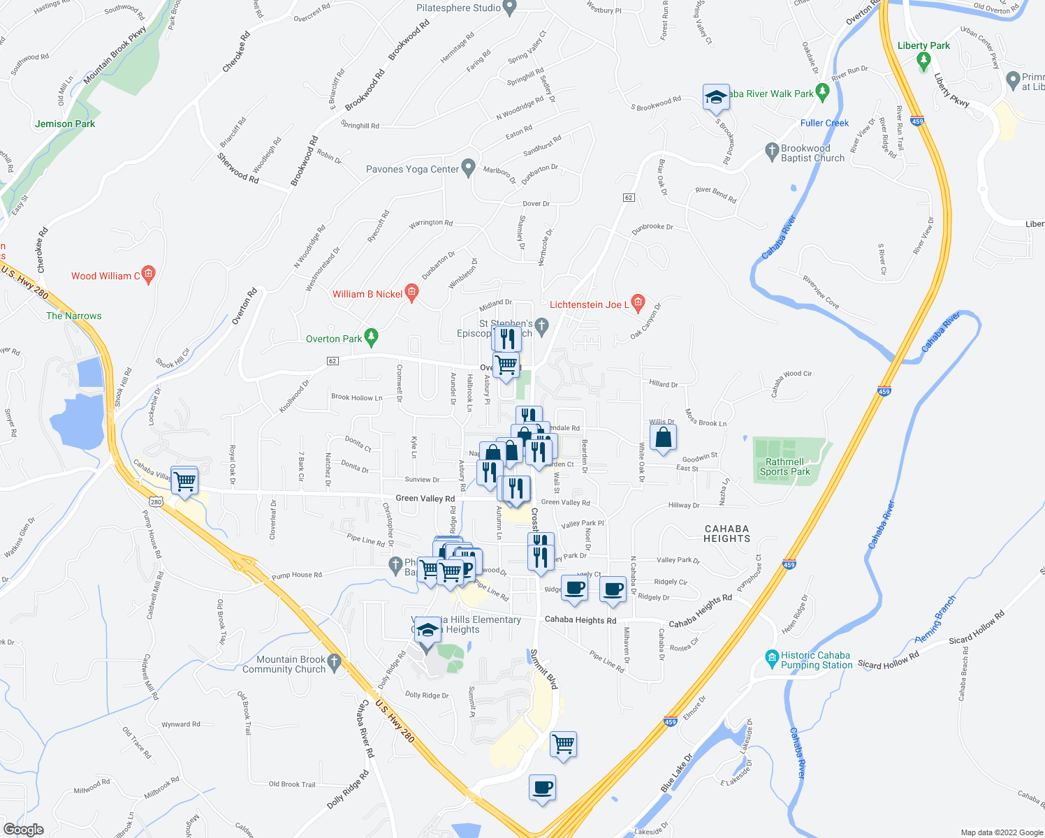 map of restaurants, bars, coffee shops, grocery stores, and more near 3860 Crossha