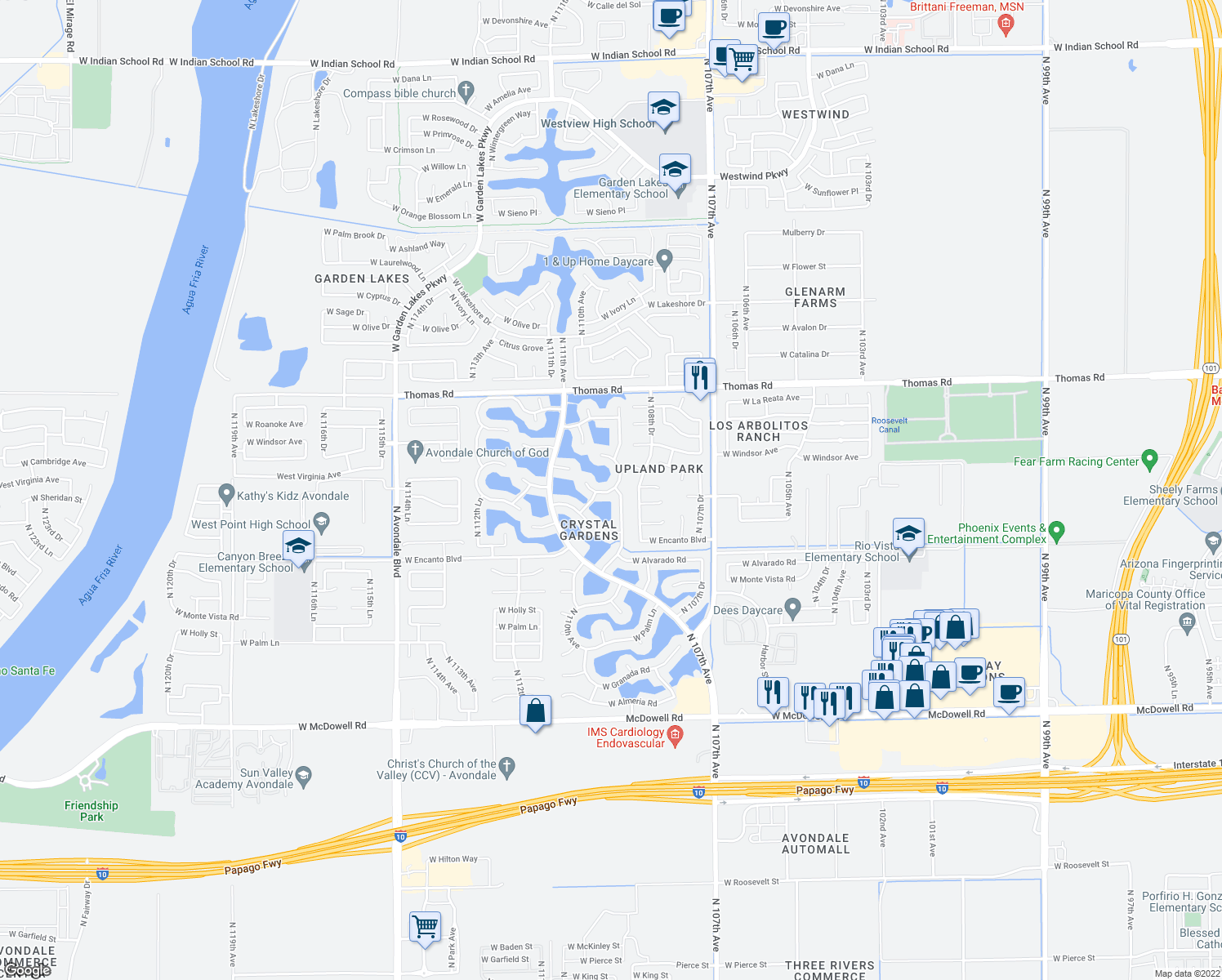 map of restaurants, bars, coffee shops, grocery stores, and more near 10929 West Wilshire Drive in Avondale