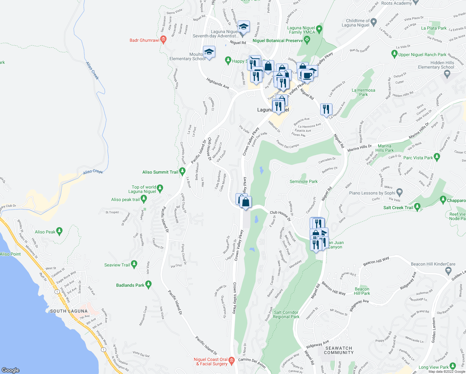 map of restaurants, bars, coffee shops, grocery stores, and more near 30902 Clubhouse Dr in Laguna Niguel