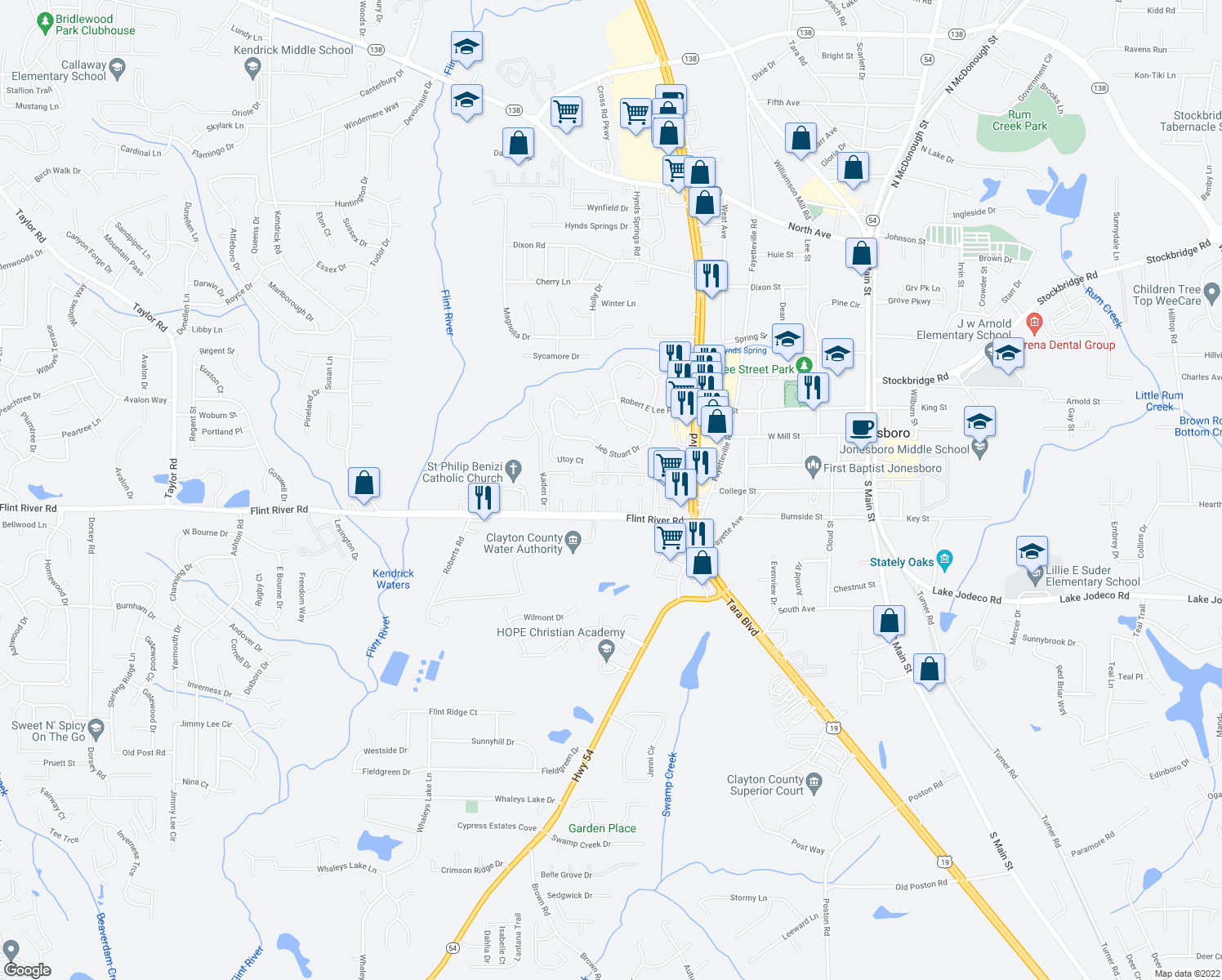 map of restaurants, bars, coffee shops, grocery stores, and more near 681 Flint River Road in Jonesboro