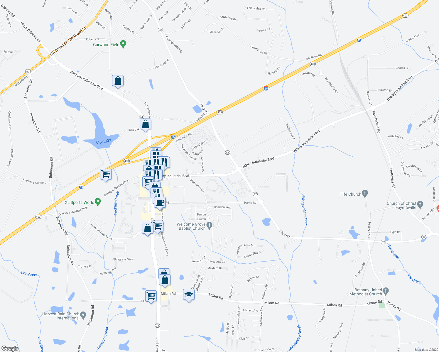 map of restaurants, bars, coffee shops, grocery stores, and more near 5500 Oakley Industrial Boulevard in Fairburn