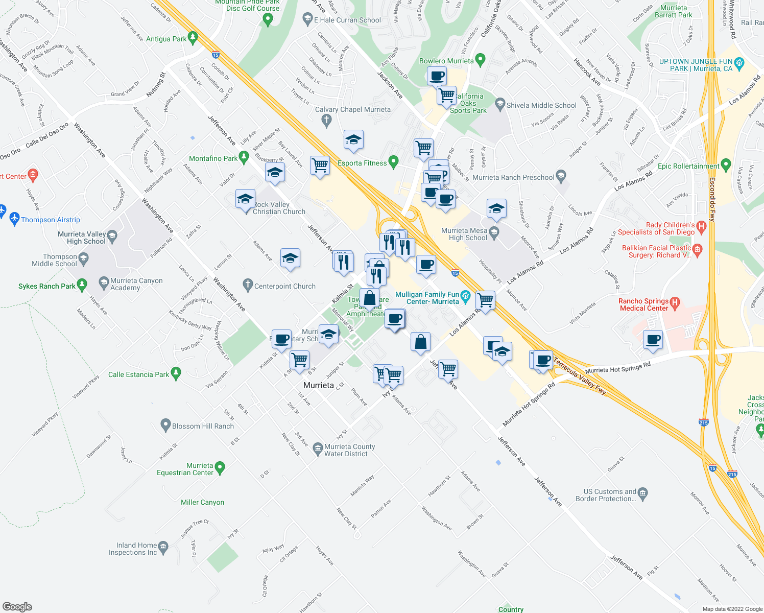 map of restaurants, bars, coffee shops, grocery stores, and more near 24740 Jefferson Avenue in Murrieta