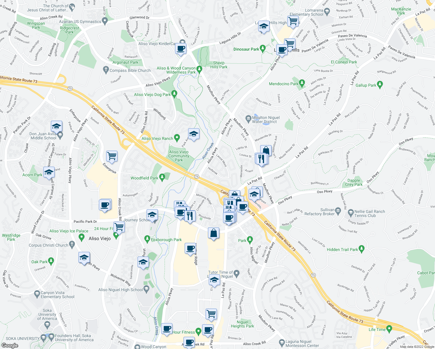 map of restaurants, bars, coffee shops, grocery stores, and more near 24202 Hollyoak in Aliso Viejo