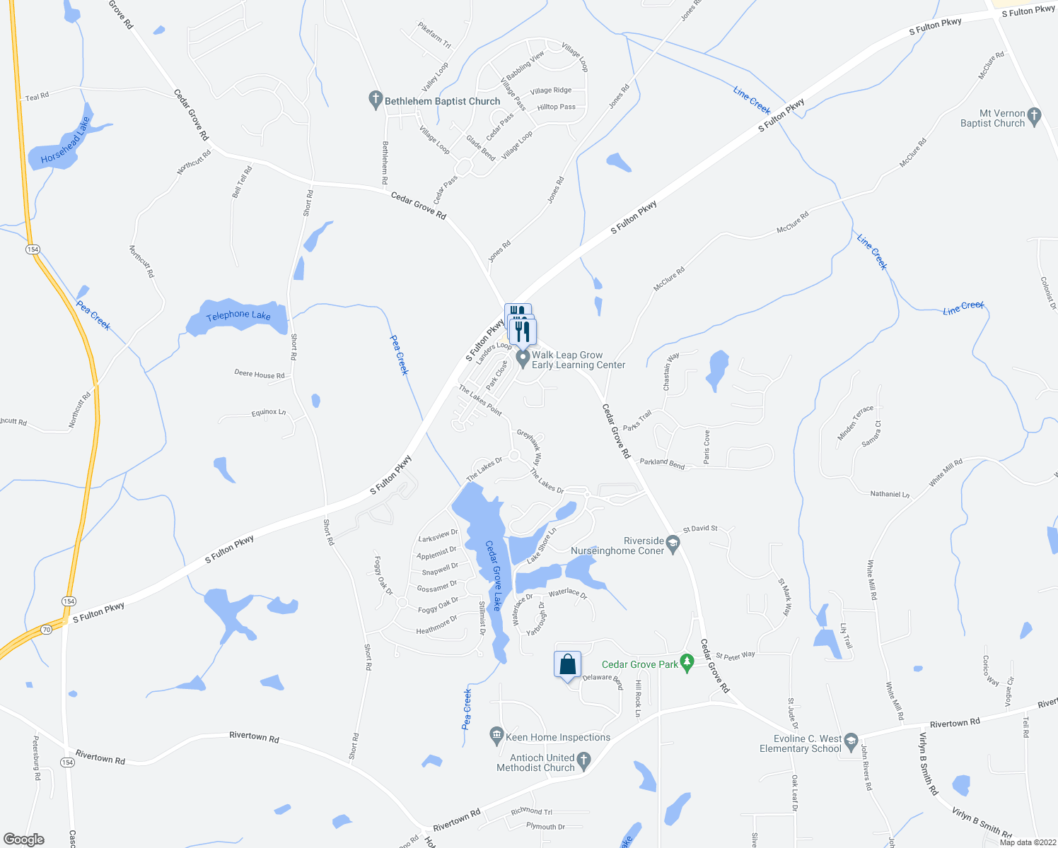 map of restaurants, bars, coffee shops, grocery stores, and more near 685 Osprey Point in Fairburn