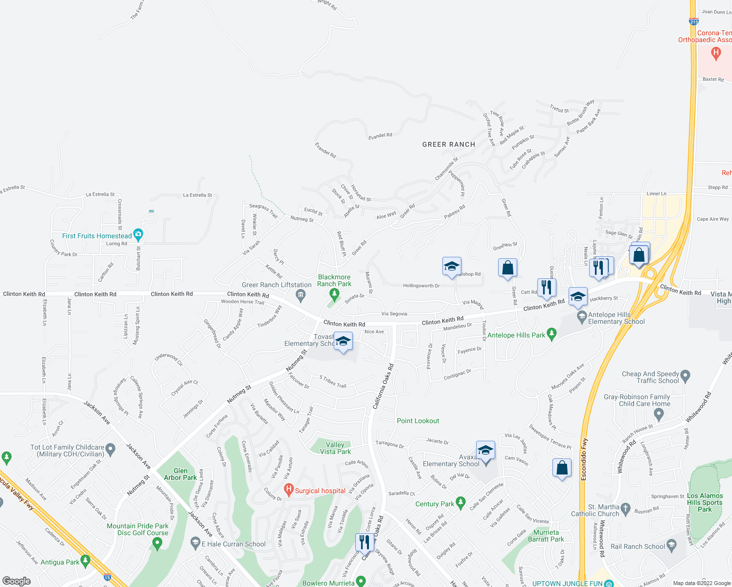 map of restaurants, bars, coffee shops, grocery stores, and more near 35962-35972 Murano Street in Murrieta