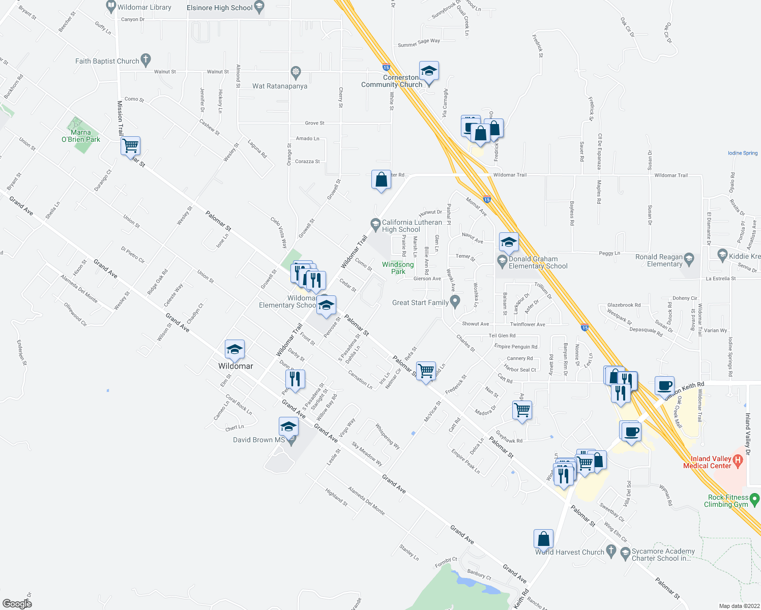 map of restaurants, bars, coffee shops, grocery stores, and more near 32300-32698 South Pasadena Street in Wildomar