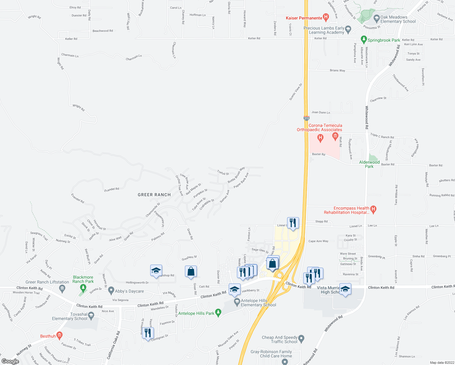 map of restaurants, bars, coffee shops, grocery stores, and more near Bottle Brush Way & Sumac Ave in Murrieta