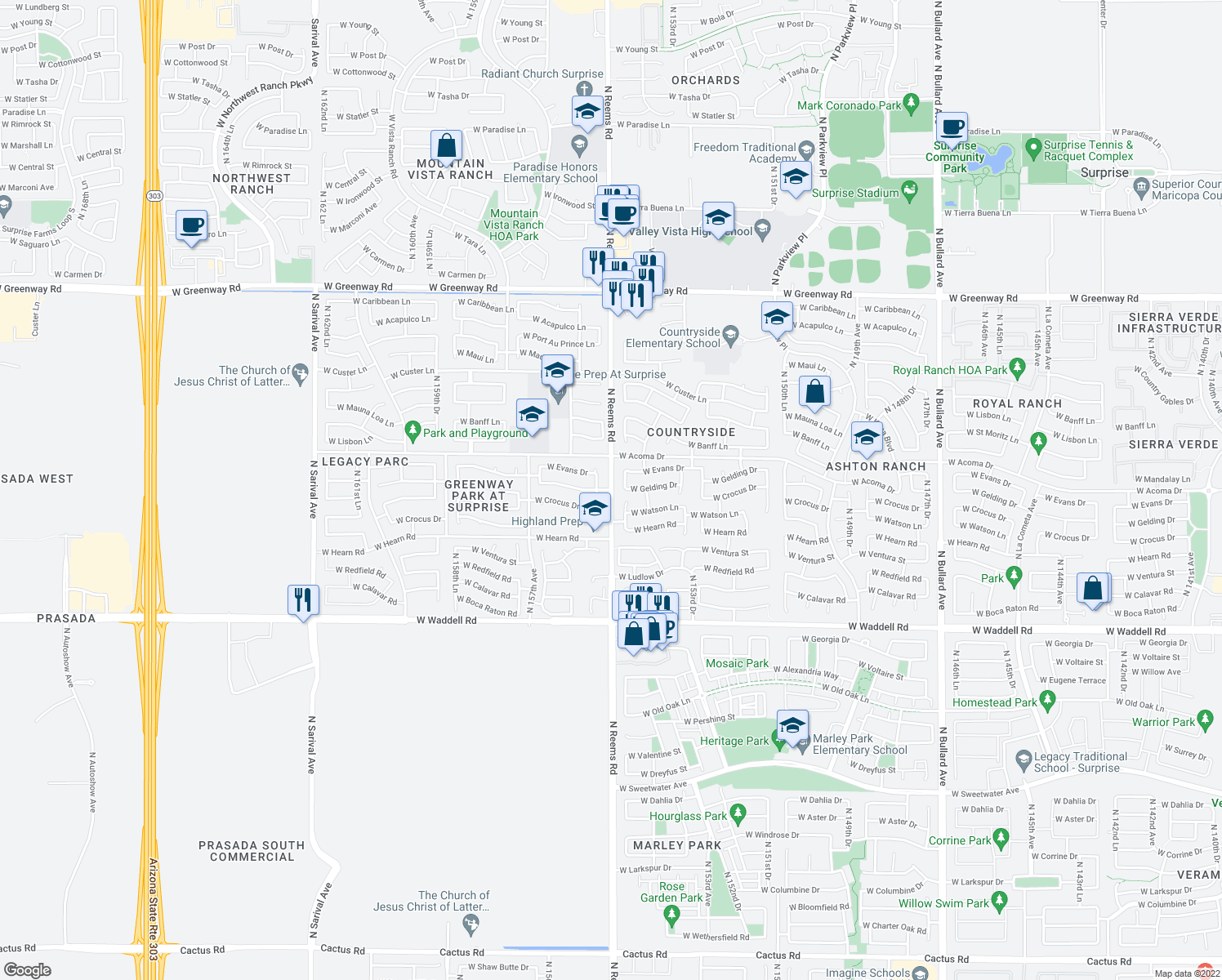map of restaurants, bars, coffee shops, grocery stores, and more near N Reems Rd & W Gelding Dr in Surprise