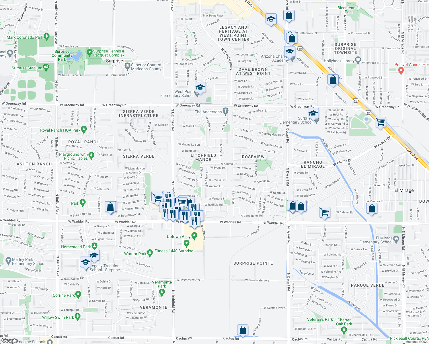 map of restaurants, bars, coffee shops, grocery stores, and more near 13623 West Gelding Drive in Surprise