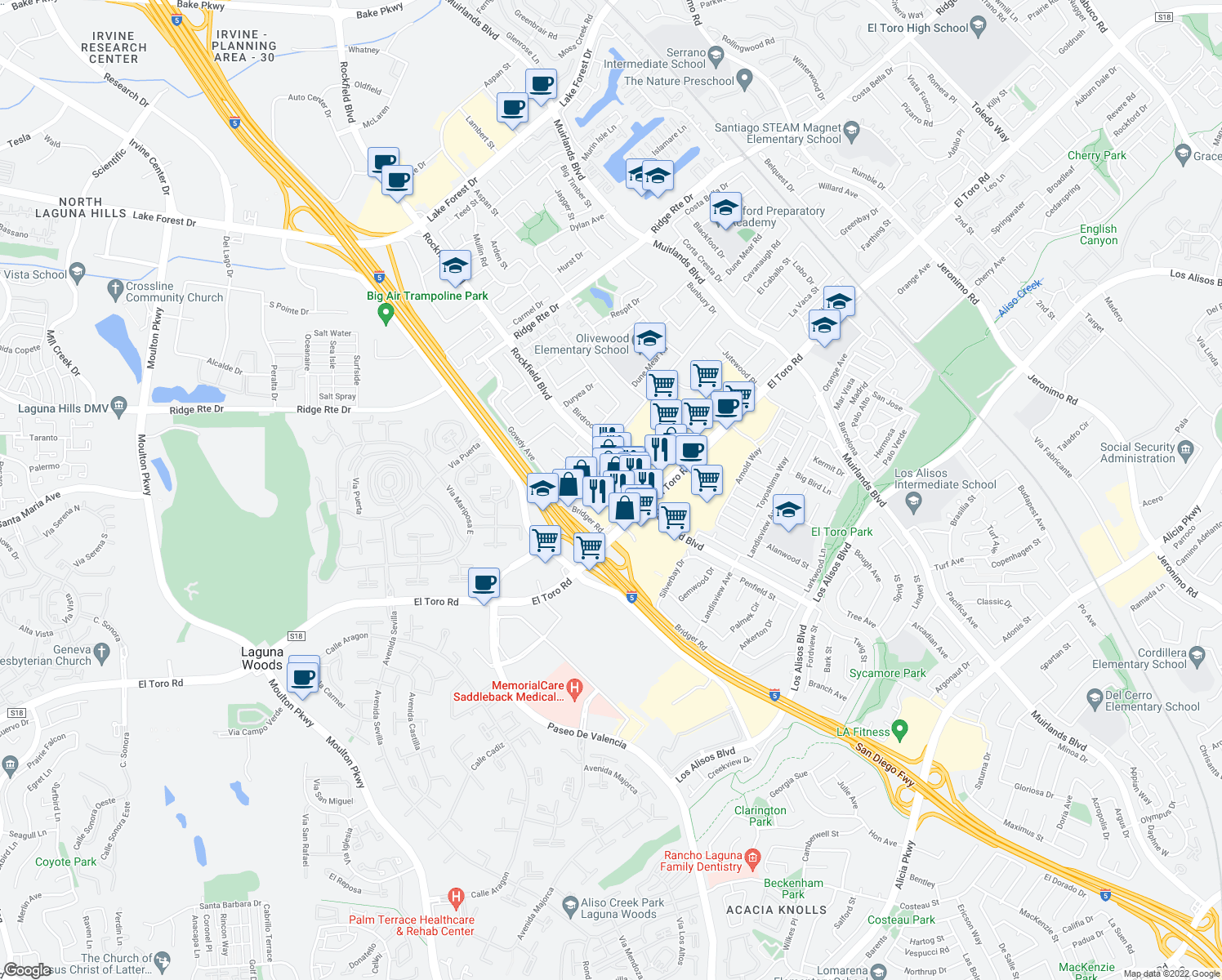 map of restaurants, bars, coffee shops, grocery stores, and more near 23785 El Toro Road in Lake Forest