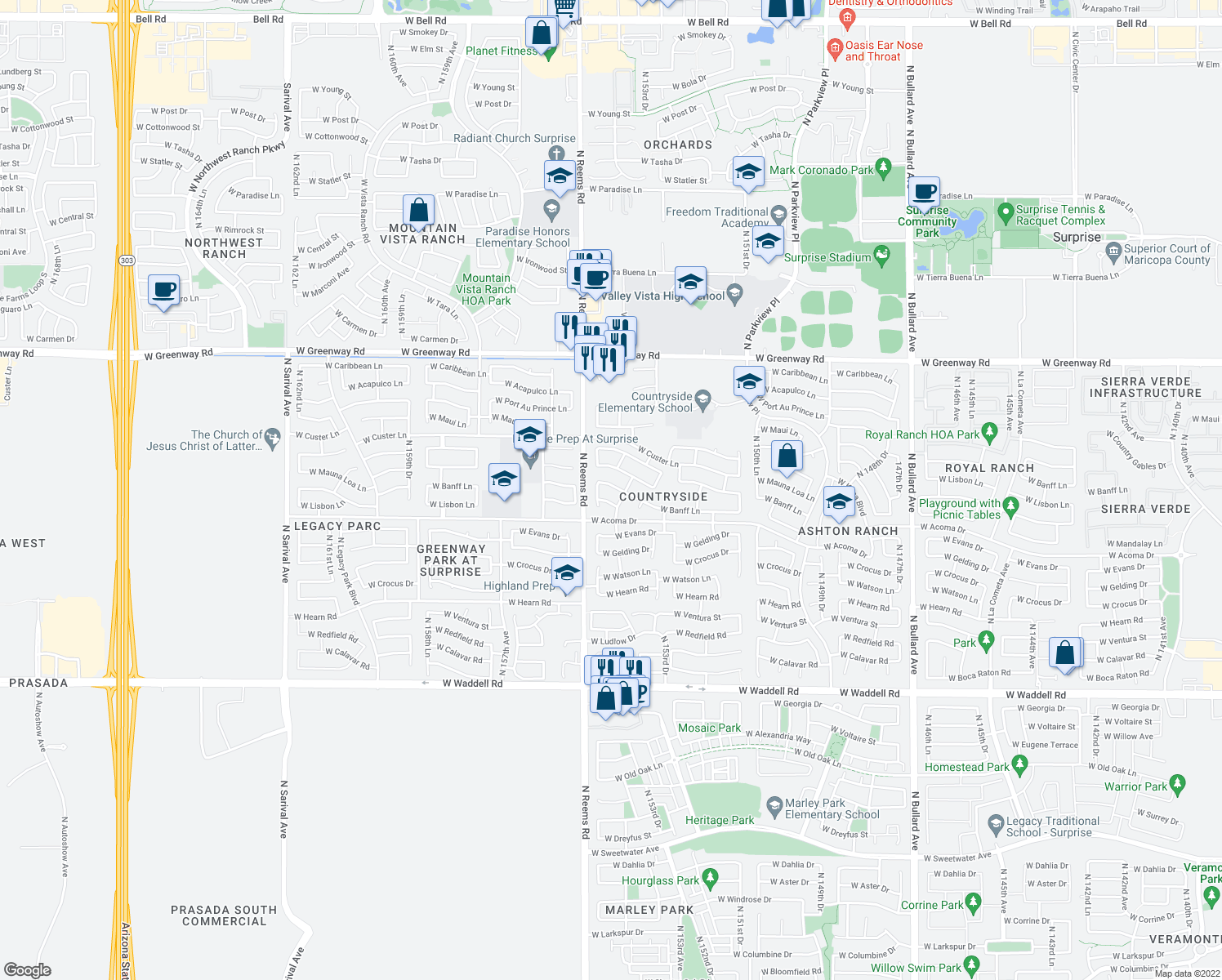 map of restaurants, bars, coffee shops, grocery stores, and more near 15407 W Banff Ln in Surprise