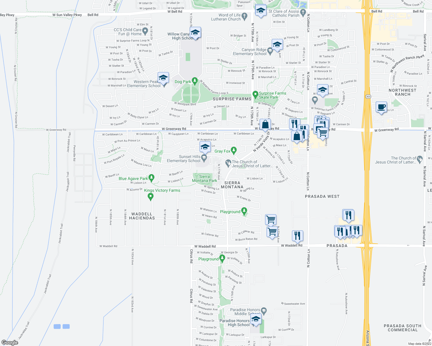 map of restaurants, bars, coffee shops, grocery stores, and more near West Lisbon Lane in Surprise