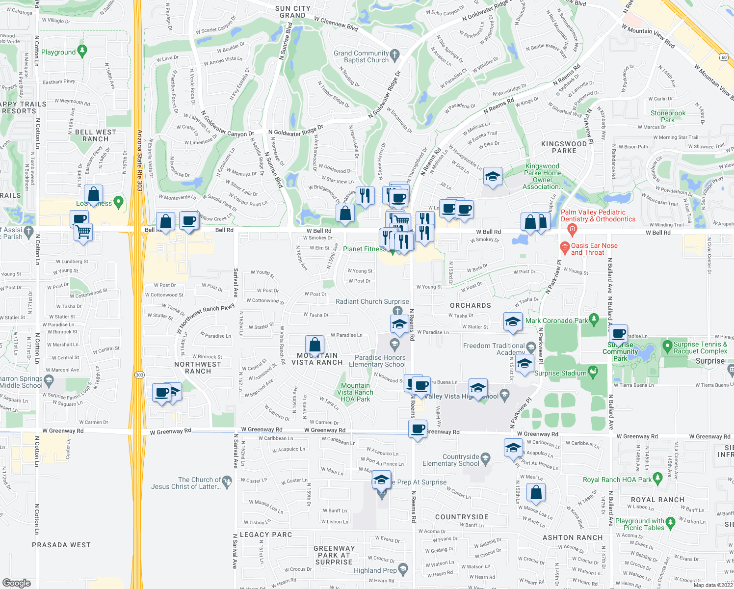 map of restaurants, bars, coffee shops, grocery stores, and more near 15718 W Cottonwood St in Surprise
