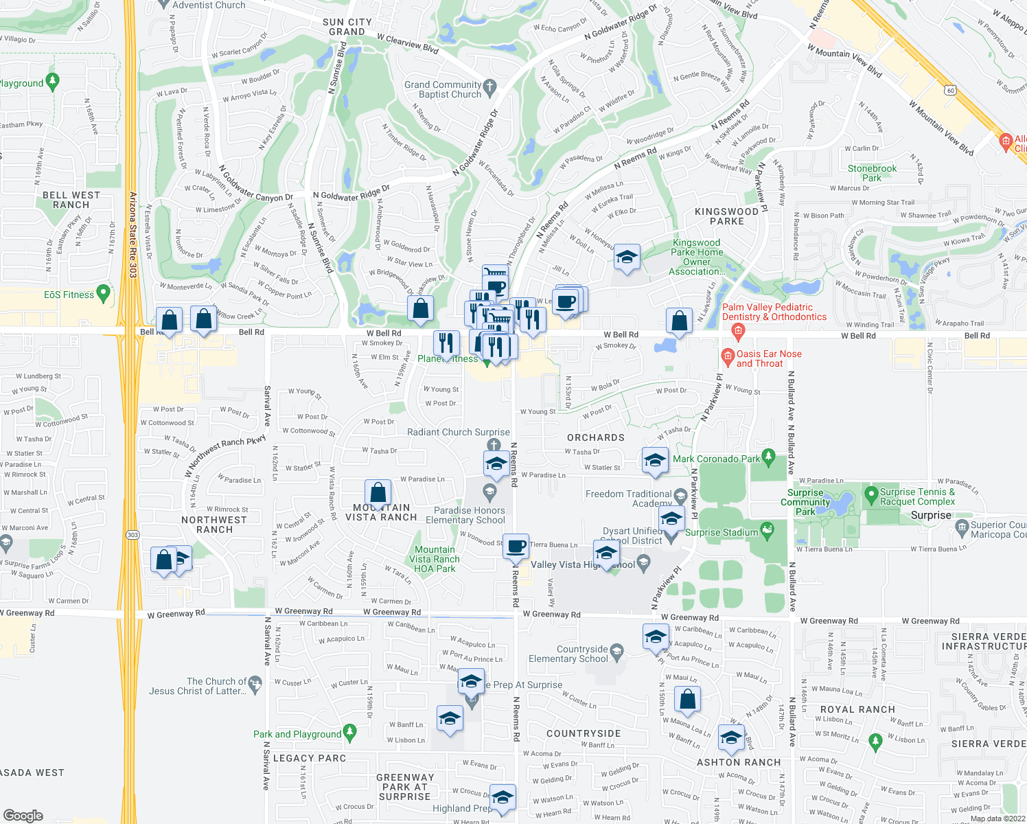 map of restaurants, bars, coffee shops, grocery stores, and more near N Reems Rd & W Young St in Surprise