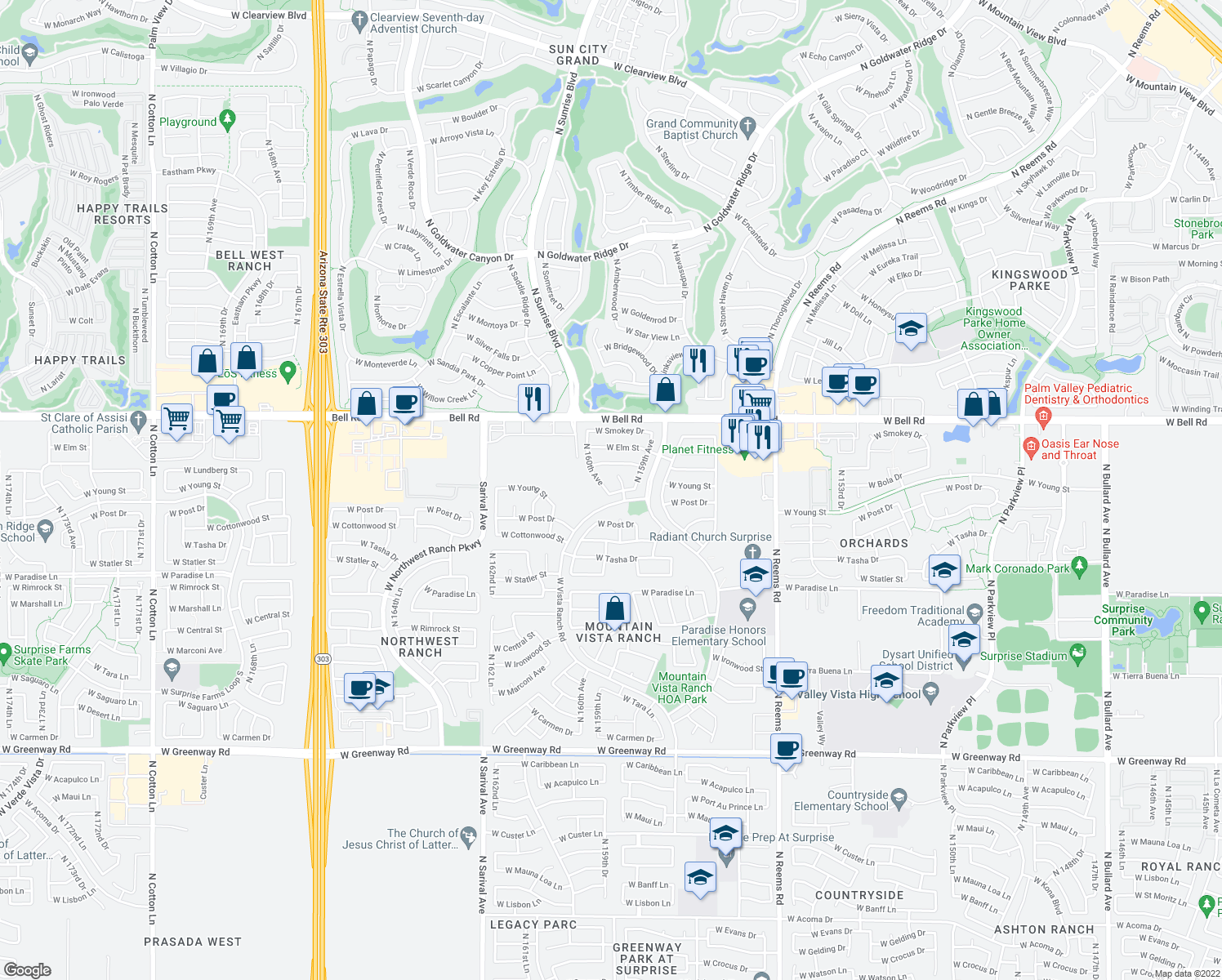 map of restaurants, bars, coffee shops, grocery stores, and more near 16708 North 159th Drive in Surprise