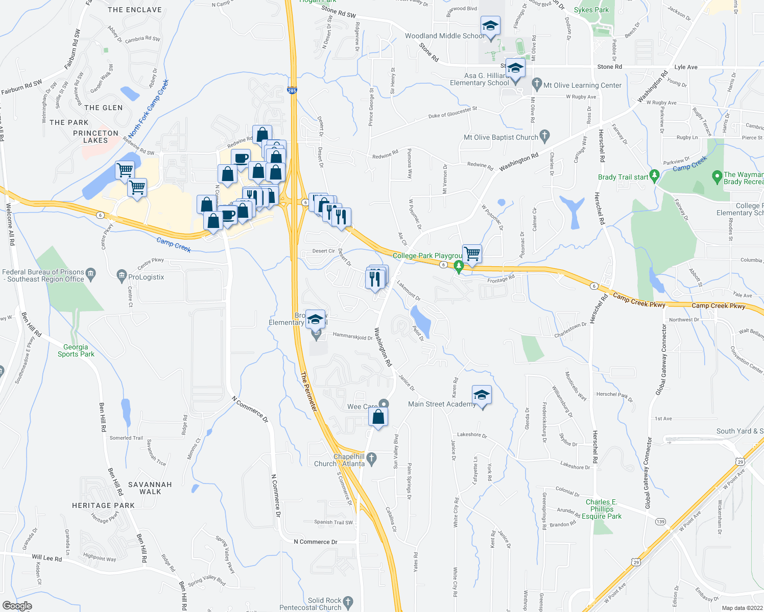 map of restaurants, bars, coffee shops, grocery stores, and more near 3887 Washington Road in East Point