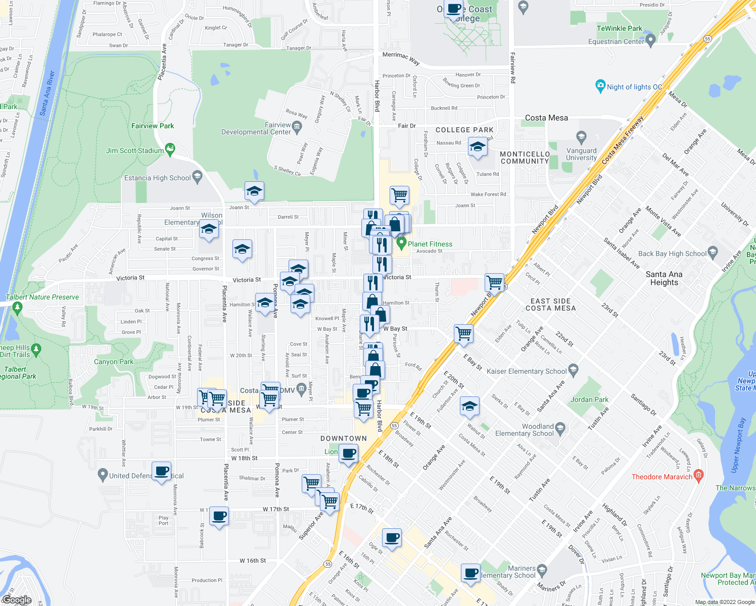 map of restaurants, bars, coffee shops, grocery stores, and more near Harbor Blvd & Hamilton St in Costa Mesa