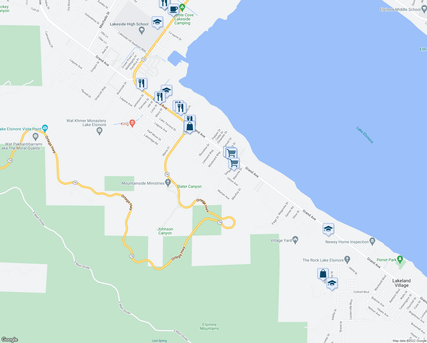 map of restaurants, bars, coffee shops, grocery stores, and more near 33169 Regatta Drive in Lake Elsinore