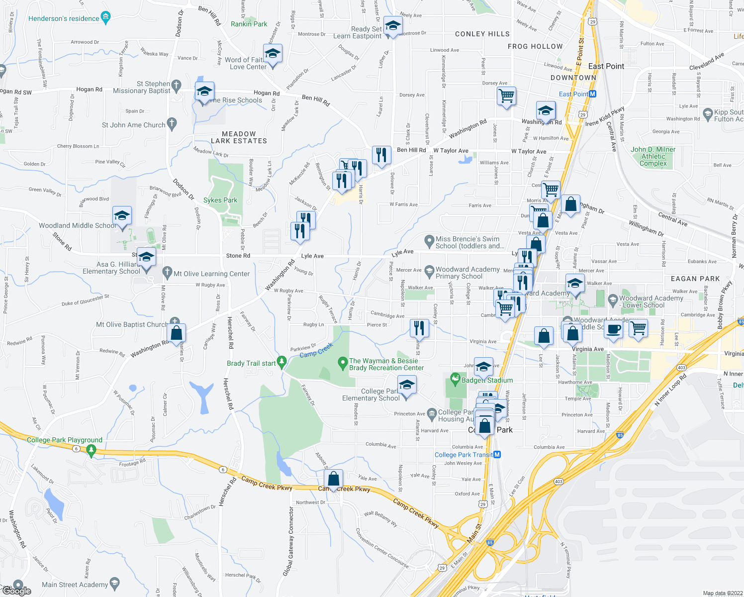 map of restaurants, bars, coffee shops, grocery stores, and more near 2125 Rugby Ave in College Park