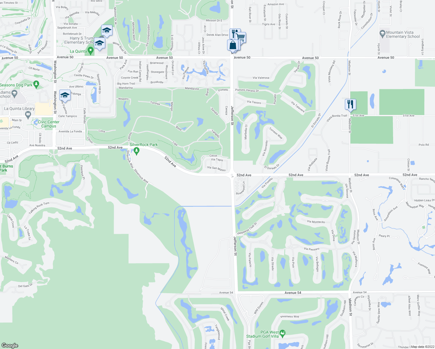 map of restaurants, bars, coffee shops, grocery stores, and more near Avenue 52 in La Quinta