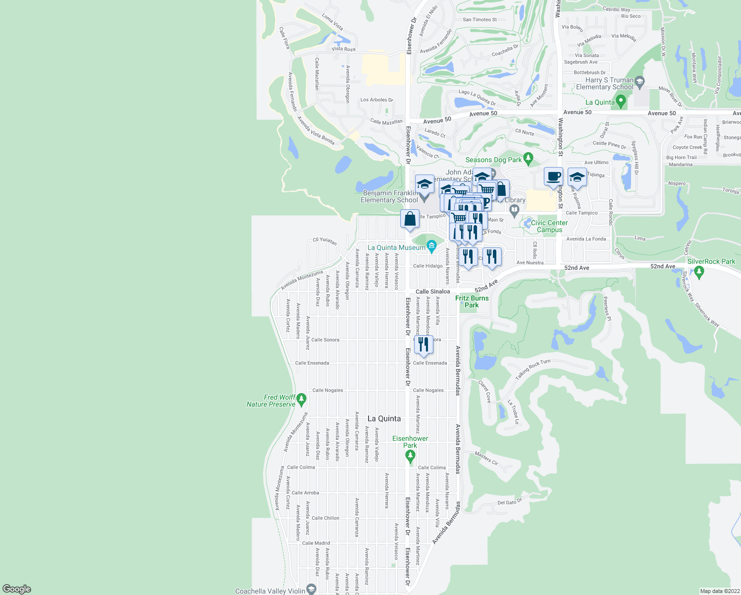 map of restaurants, bars, coffee shops, grocery stores, and more near 51800 Avenida Ramirez in La Quinta